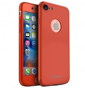 Husa iPaky 360 + folie sticla iPhone 7, Red