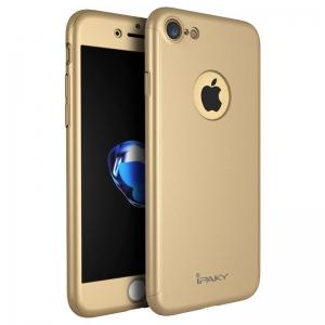 Husa iPaky 360 + folie sticla iPhone 8, Gold