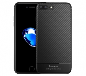 Husa iPaky Carbon Fiber iPhone 7 Plus, Negru