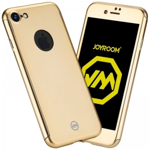 Husa Joyroom 360 + folie sticla iPhone 7, Gold