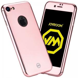 Husa Joyroom 360 + folie sticla iPhone 7, Rose Gold