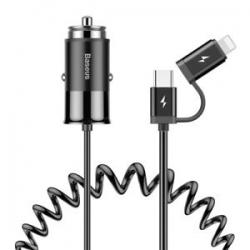 Încărcător auto Universal 2 in 1 USB 4.8A Tip C + Cablu Lightning Negru