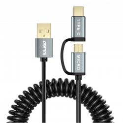 Cablu MicroUSB + Type-C 2 in 1 Incarcare si Transfer Date - Choetech Gri