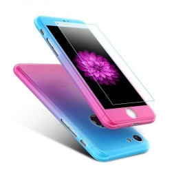 Husa Iphone 7 Plus,Iphone 8 Plus-Iberry Full Cover 360° Roz/Albastru