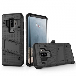 Husa Samsung Galaxy S9+ Plus + Folie Sticla-Zizo Bolt Cover Neagra