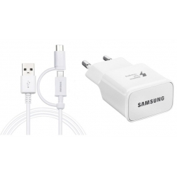 Incarcator Samsung EP-TA20EWE+ECB-DU4EWE Combo MicroUsb+Type-C Alb,Bulk