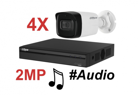 Kit DAHUA supraveghere HD exterior Pro ve04FHD_A 2Megapixeli, audio