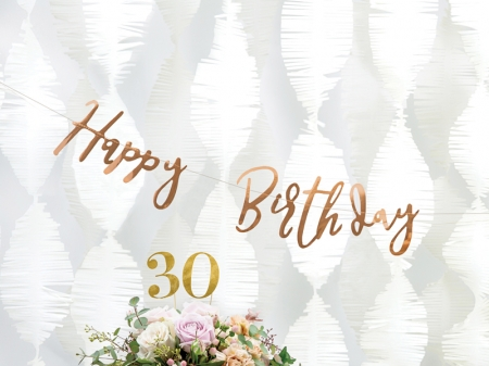 Banner Happy Birthday, rose gold, 16.5x62cm0