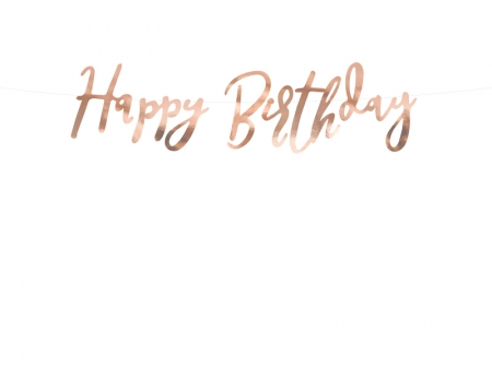 Banner Happy Birthday, rose gold, 16.5x62cm1