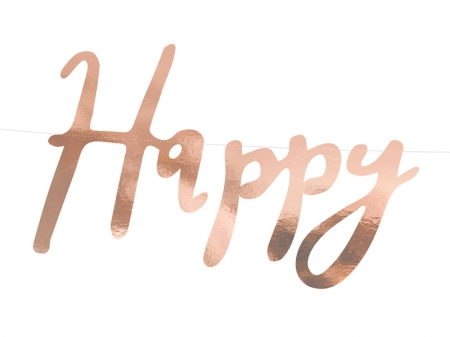 Banner Happy Birthday, rose gold, 16.5x62cm2