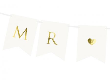 Banner Mr Mrs, alb, 15 x 85 cm2