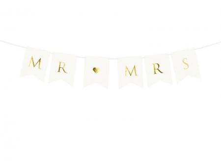 Banner Mr Mrs, alb, 15 x 85 cm1