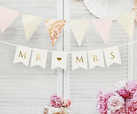 Banner Mr Mrs, alb, 15 x 85 cm0