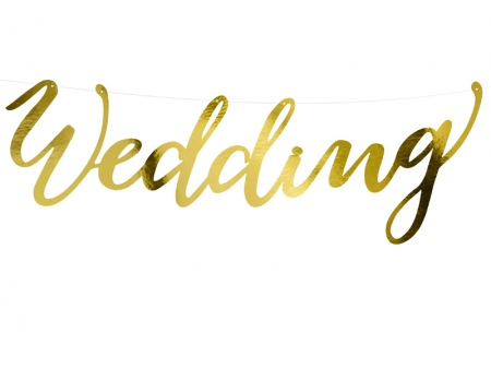Banner Wedding, auriu, 16.5x45cm0
