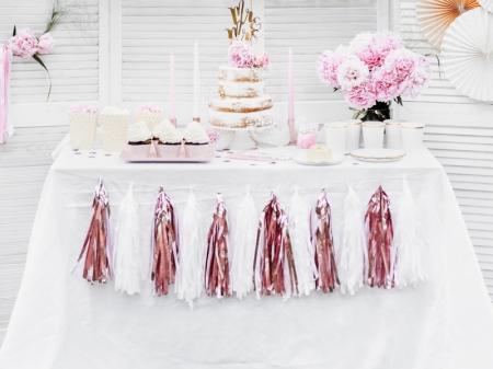 Ghirlanda ciucuri roz auriu, 12 ciucuri, 1.5 m lungime3