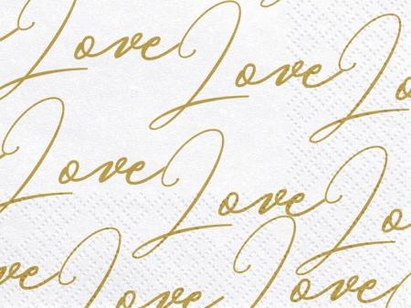 Servetele Love, alb, 33x33cm (1 pach / 20 buc)2
