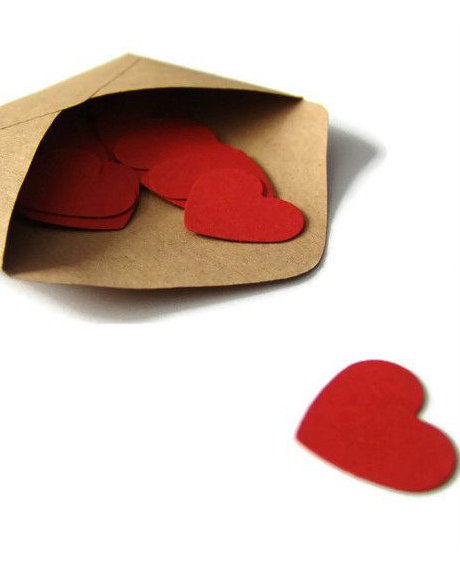 Confetti inimioare rosu grena 2,5 cm set 50 buc 1
