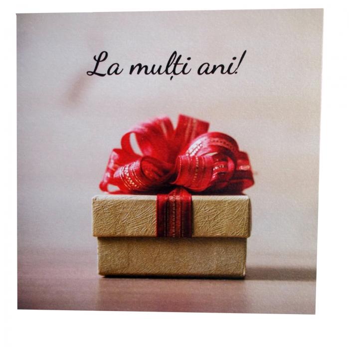 Felicitare Cracun cutie crem cu funda rosie 1