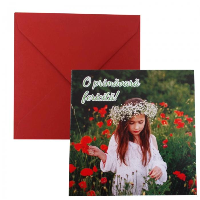Felicitare martie fata in camp de flori 0