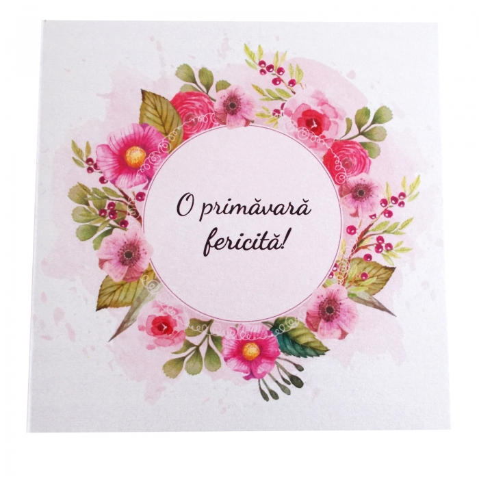 Felicitare martie coronita flori roz 1