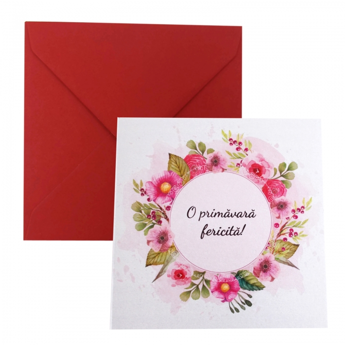 Felicitare martie coronita flori roz 0
