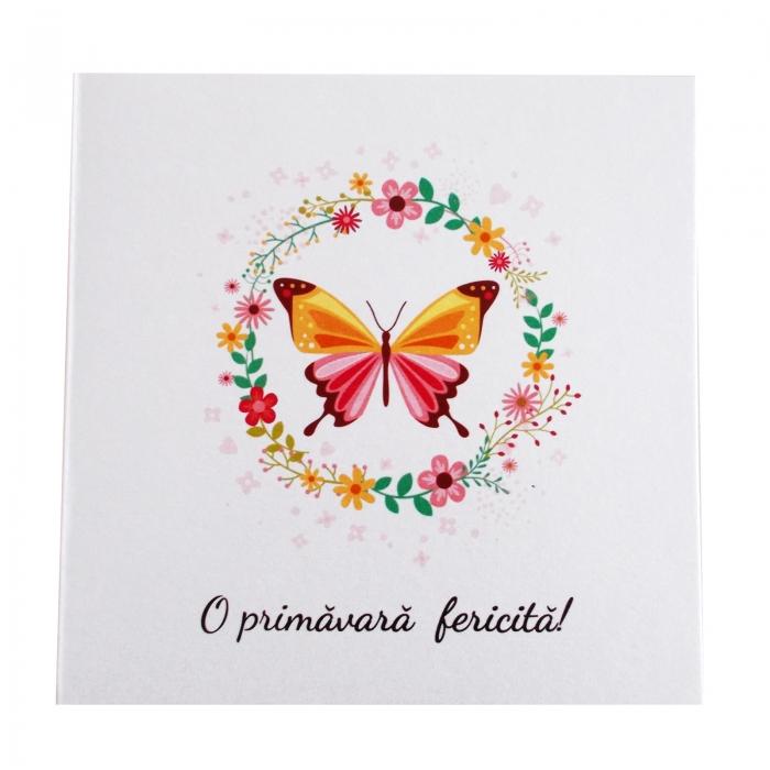 Felicitare martie coronita flori si fluture 1