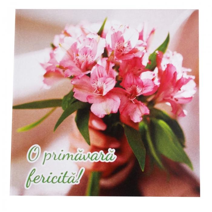 Felicitare martie buchetel flori roz 1