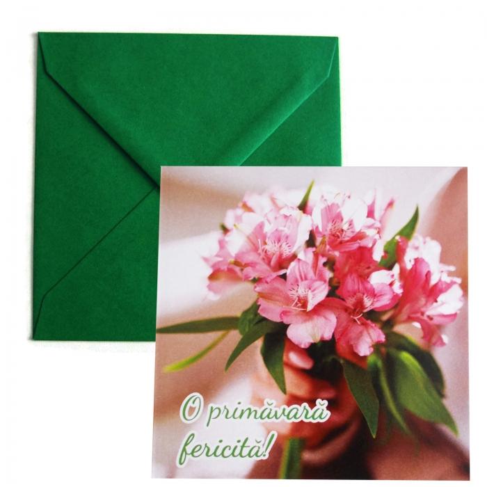 Felicitare martie buchetel flori roz 0
