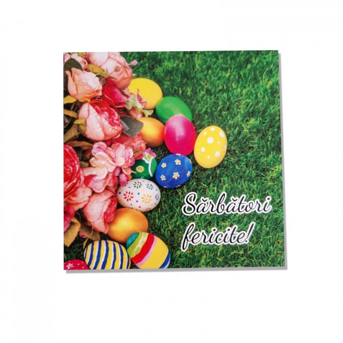 Felicitare Paste oua multicolore in iarba 1