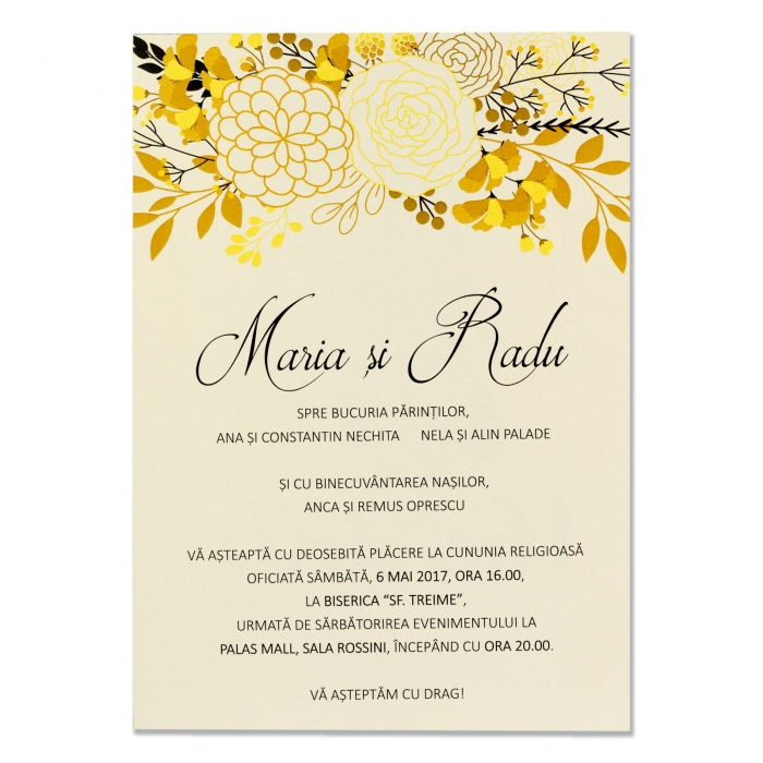 Invitatie nunta flori gold 0