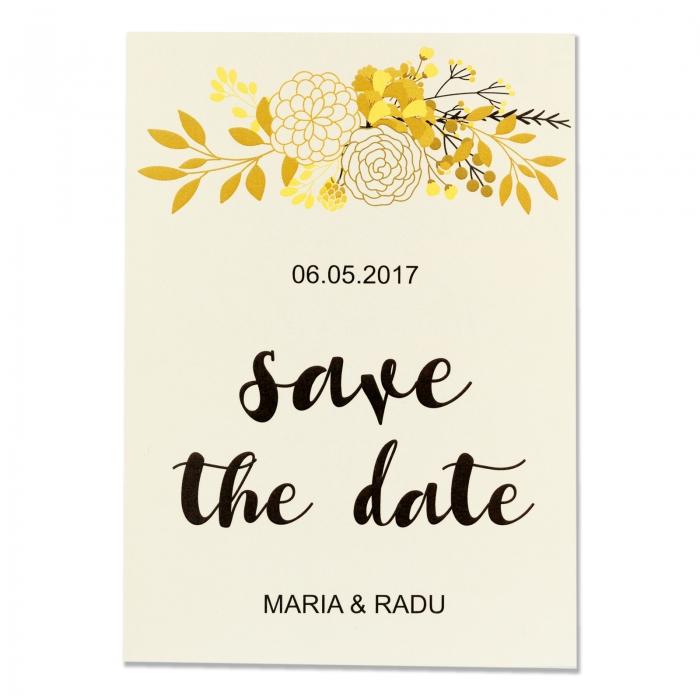 Invitatie nunta flori gold 1