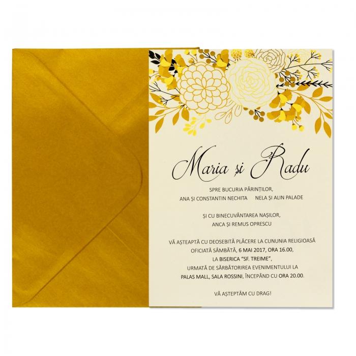 Invitatie nunta flori gold 3