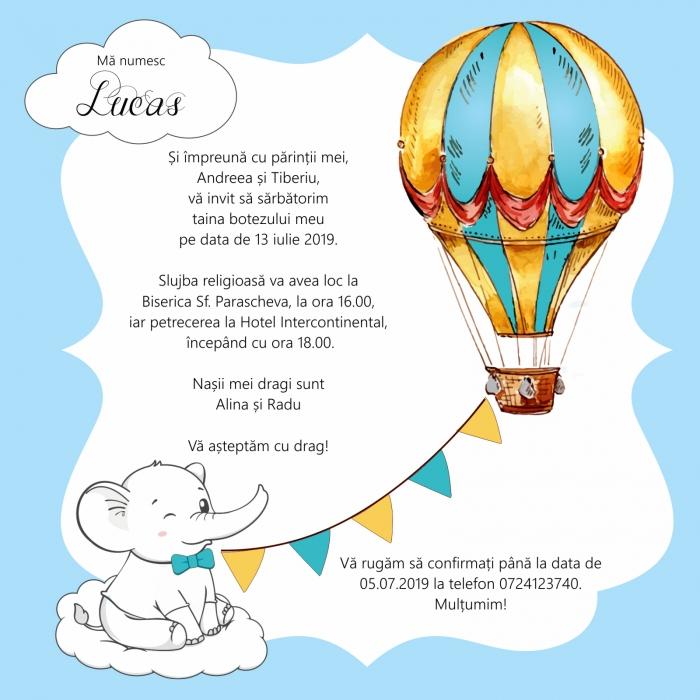 Invitatie electronica botez elefantel si balon [0]