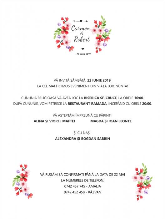 Invitatie electronica nunta floricele rosii 0
