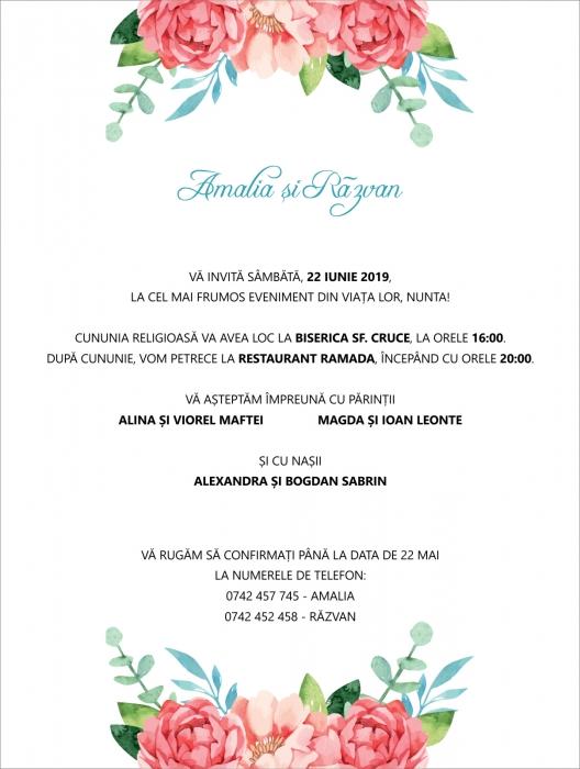 Invitatie electronica nunta flori roz 0