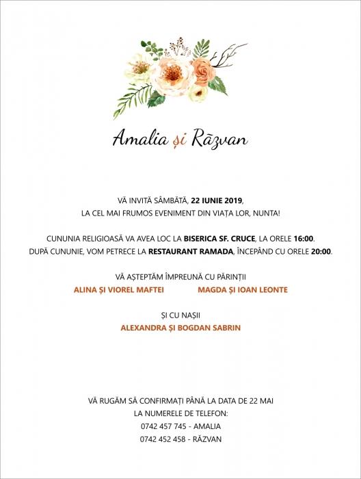 Invitatie electronica nunta flori crem [0]