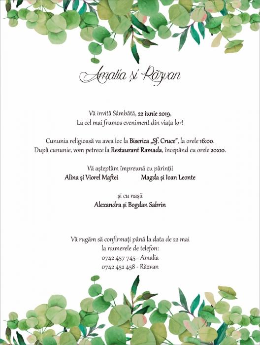 Invitatie electronica nunta frunzulite eucalipt [0]