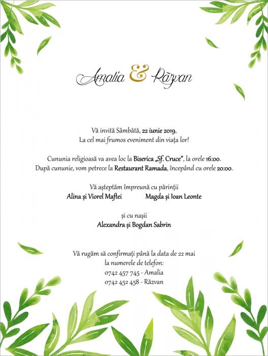Invitatie electronica nunta frunzulite verzi 0