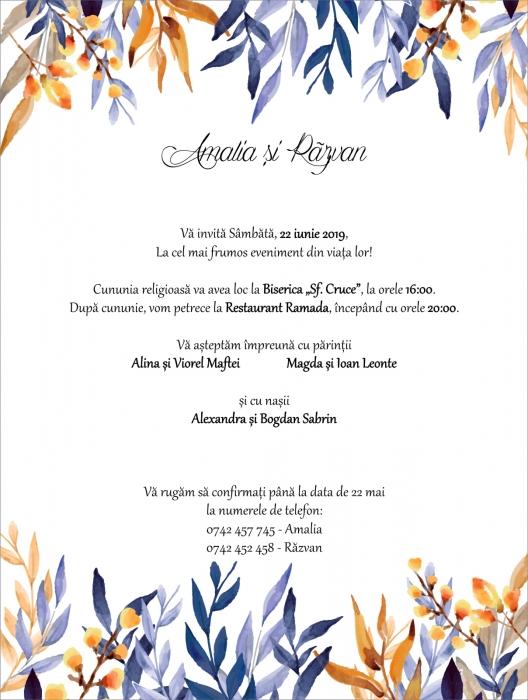 Invitatie electronica nunta frunzulite multicolore 0
