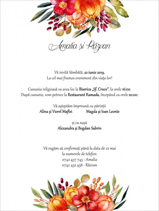 Invitatie electronica nunta flori multicolore [0]