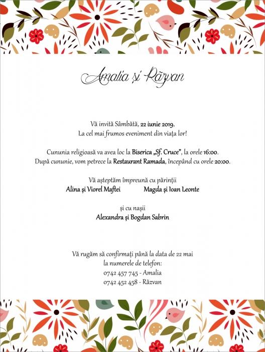 Invitatie electronica nunta pattern floral 0