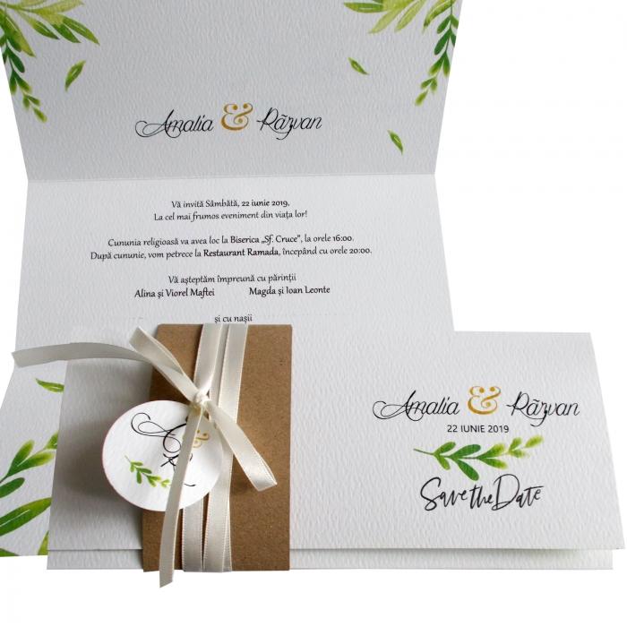 Invitatie nunta frunzulite verzi 0