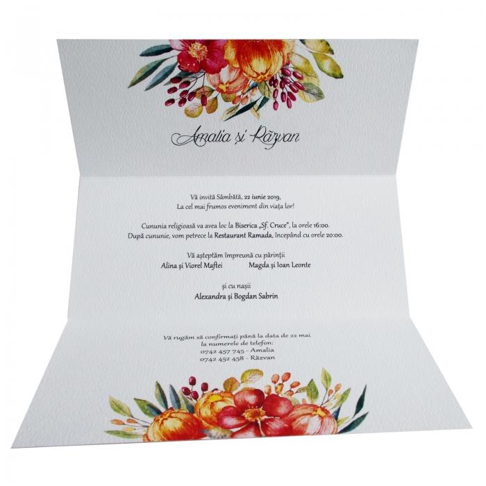 Invitatie nunta flori colorate 1