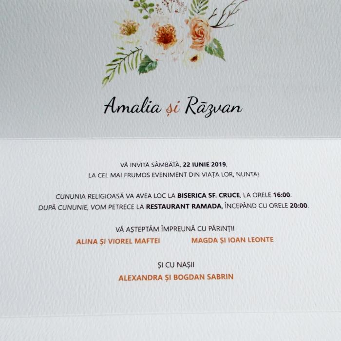 Invitatie nunta flori crem 1