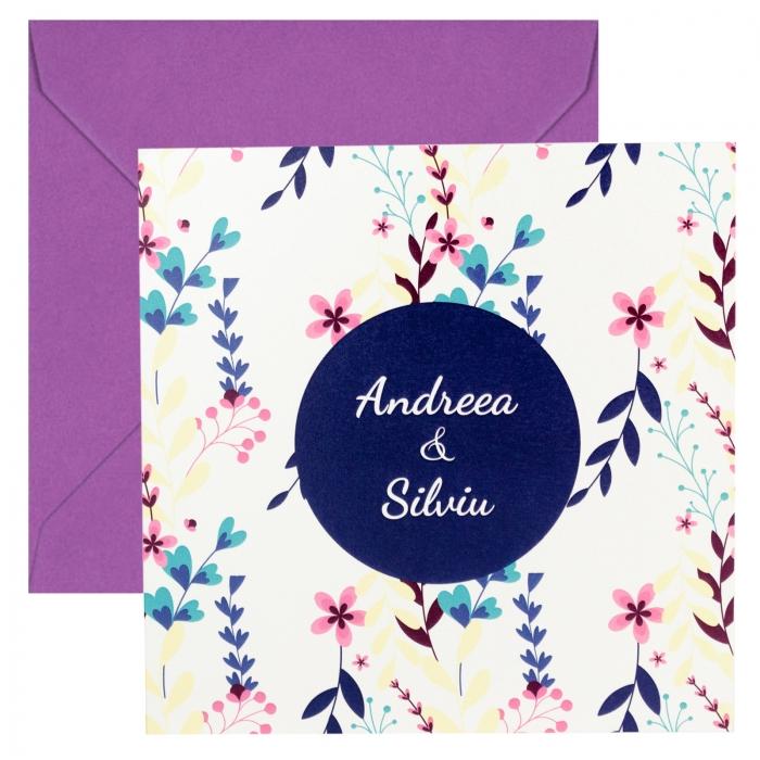 Invitatie nunta flori mov mici 3