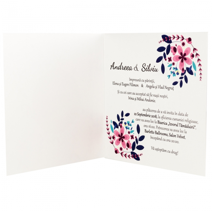 Invitatie nunta flori mov mici 6