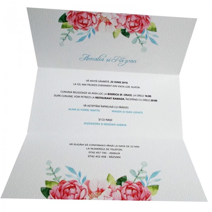 Invitatie nunta flori roz [2]