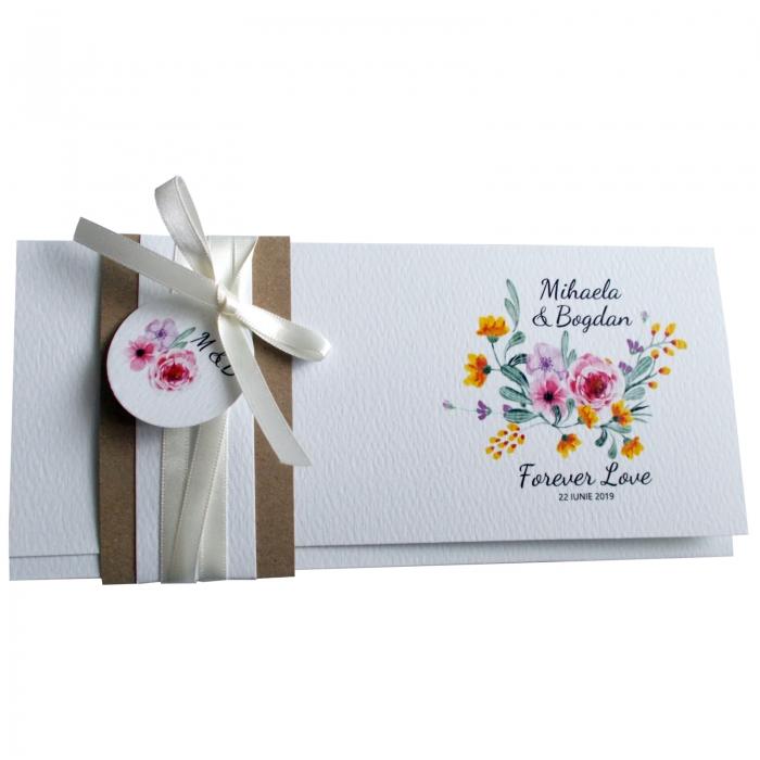 Invitatie nunta flori roz si galbene 2