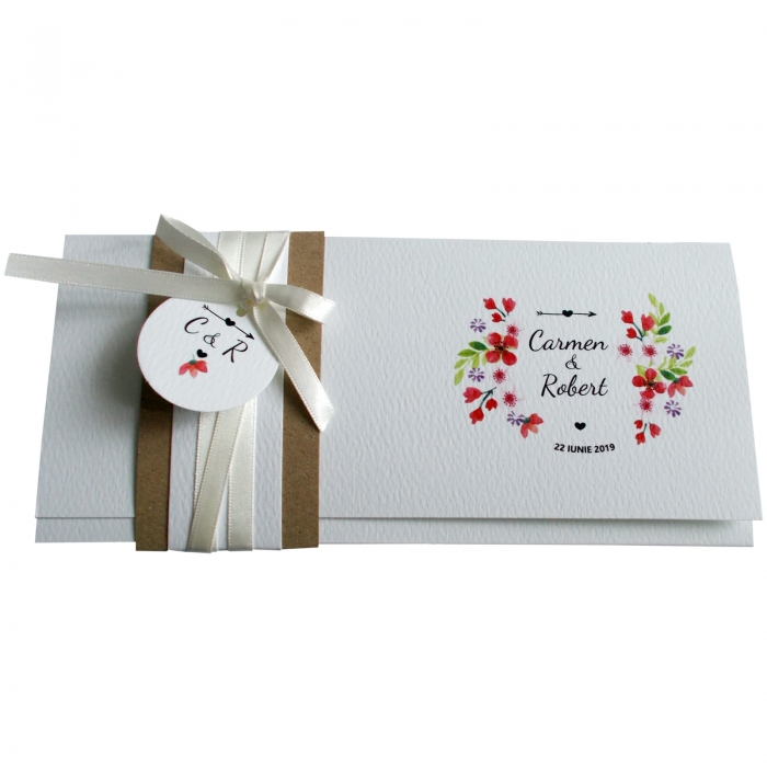 Invitatie nunta floricele rosii 1