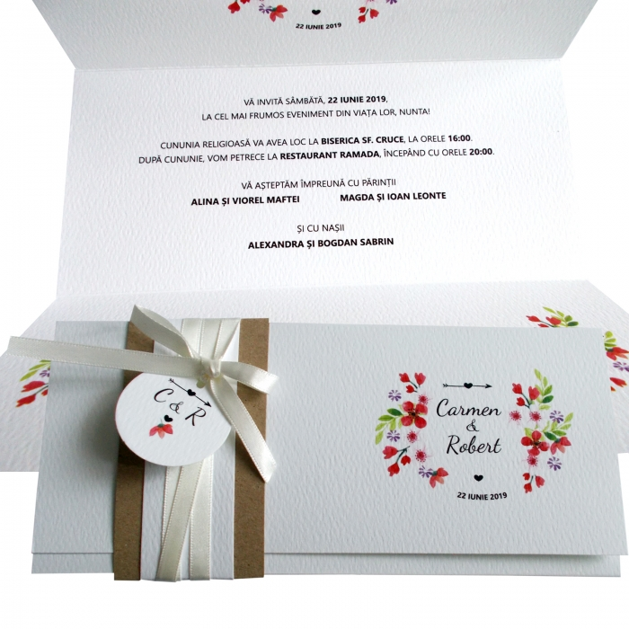 Invitatie nunta floricele rosii 0